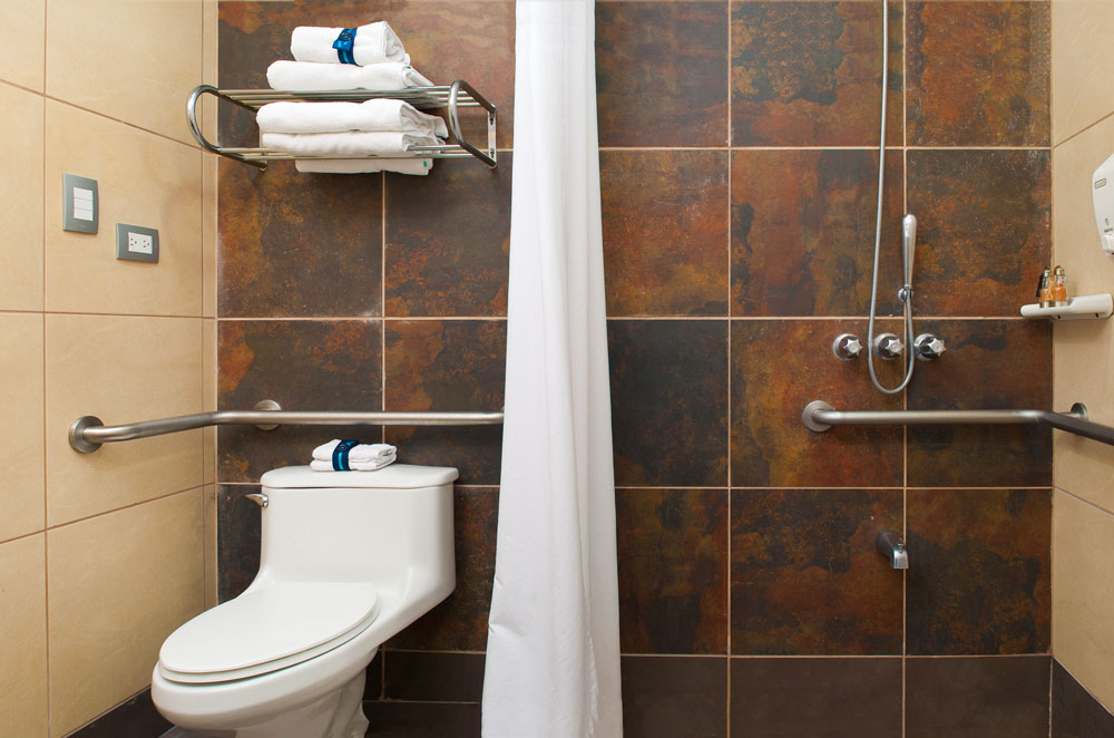 Enjoy the comfort of an accessible bathroom for wheer chair for your special needs.